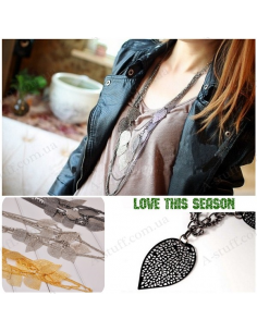 "Multilayer long necklace Bohemia style ""Leaves"""