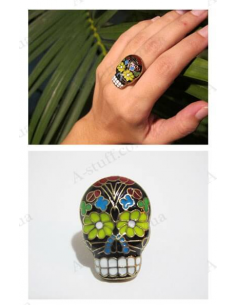"Cool charming ring ""Stylish colored skull"""
