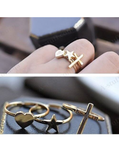 "Set of 3 of rings ""Cross, star and heart"""