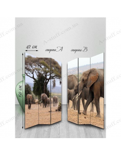 "Double-sided folding screen ""Family of elephants"""