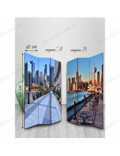 """Double-sided folding screen """"Calm towns"""""""