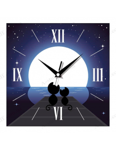 "Wall clock ""Romantic cats"""