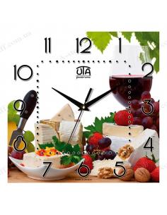 """Настінний годинник """"Вино, сир та фрукти"""""""