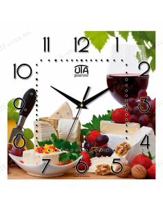"Wall clock ""Wine, cheese and fruits"""