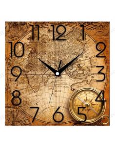 """Настінний годинник """"Древня карта і компас"""""""