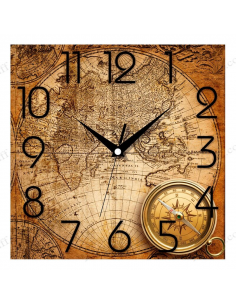 "Wall clock ""Ancient map and compass'"