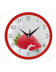 "Wall clock ""Strawberries with milk"""
