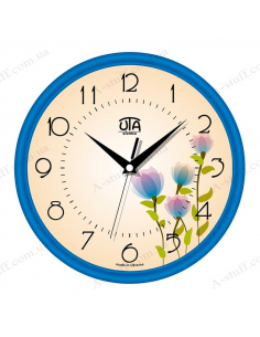 "Wall clock ""Blue Flowers"""
