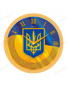 """Wall clock """"Flag and coat of arms of Ukraine"""""""