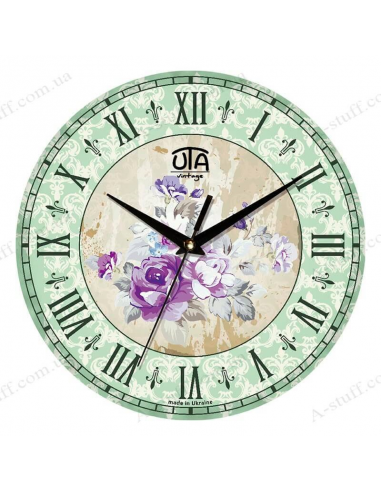 """Clock for wall """"Peonies violet"""""""