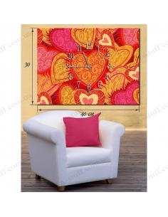 """Картина з годинником """"Закохані серця"""""""