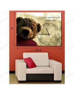 """Картина з годинником """"Іграшковий ведмедик"""""""