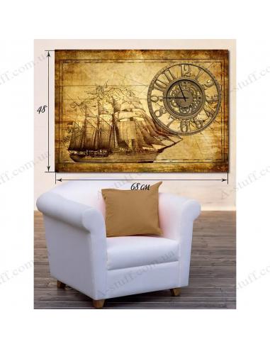 """Картина з годинником """"Корабель"""""""