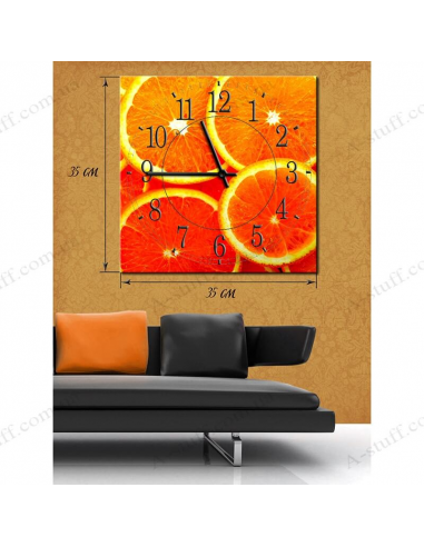 """Painting with clock """"Orange delight"""""""
