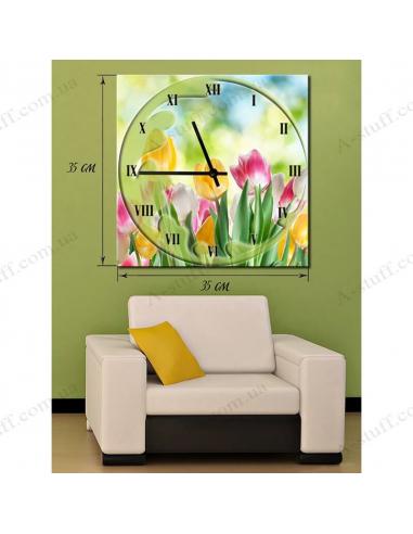 "Картина с часами ""Тюльпаны"""