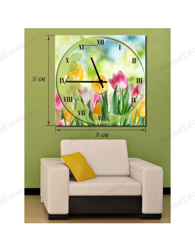 """Painting with clock """"Tulips"""""""