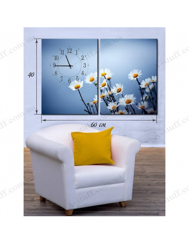 """Painting on canvas with clock """"Daisies"""""""