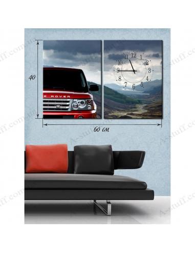 """Картина с часами на холсте """"Машина в горных пейзажах"""""""