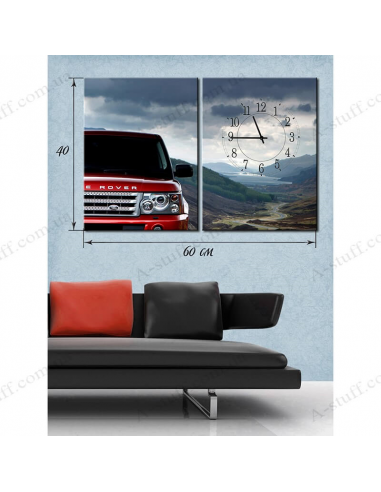 """Painting on canvas with clock """"Car in mountain landscapes"""""""