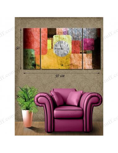 """Картина с часами на холсте """"Разноцветные квадраты"""""""