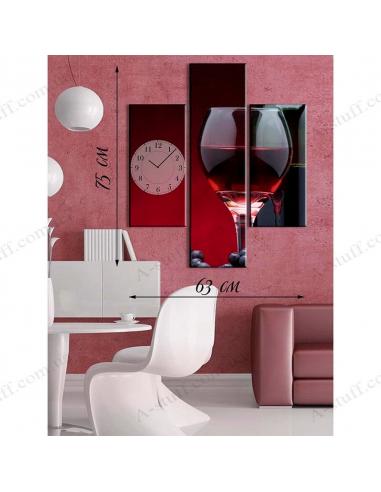 """Картина з годинником на полотні """"Вино в бокалі"""""""