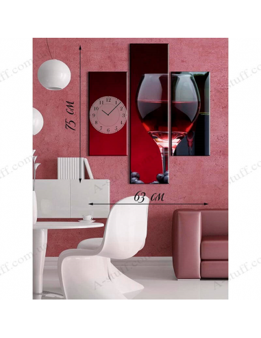 """Painting on canvas with clock """"Wine in glass"""""""