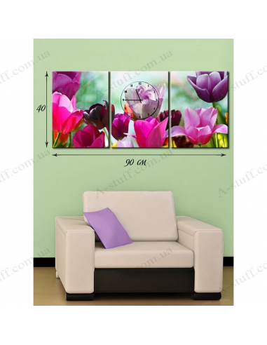 """Painting on canvas with clock """"Graceful Tulips"""""""
