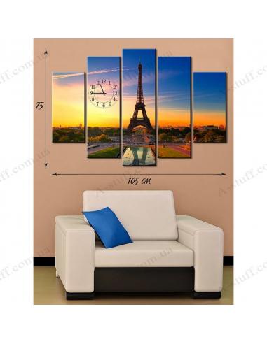 """Картина с часами на холсте """"Эйфелева башня"""""""