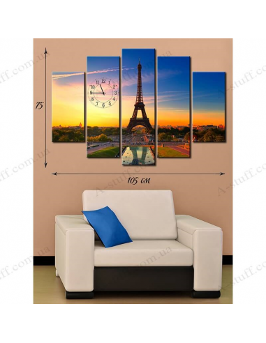 """Painting on canvas with clock """"Eiffel Tower"""""""