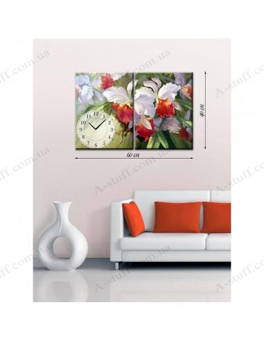"Painting on canvas with clock ""Garden Iris"""