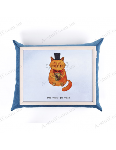 """Table - tray on a pillow laptop / breakfast """"Cat and tea"""""""