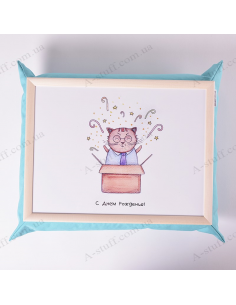 """Table - tray on a pillow laptop / breakfast """"Cat and Cake"""""""