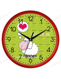 "Wall clock ""Sheep Love is all around"""