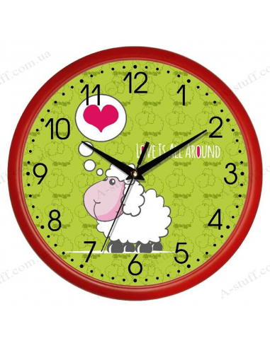 "Настінний годинник ""Овечка Love is all around"""