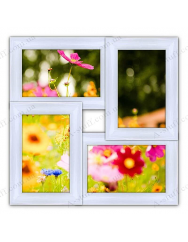 "Multiframe wooden for 4 photo ""Classic 4"", white"