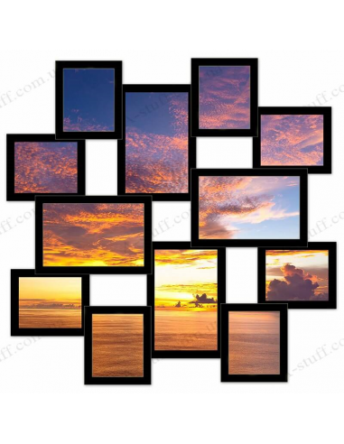 "Multiframe wooden for 12 Photos ""Journey large"", black"