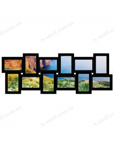 """Multiframe wooden for 12 Photos """"Story 12"""", black"""