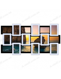 "Multiframe wooden for 18 Photos ""Story 18"", black - white"