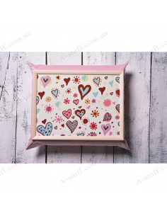 """Table - tray on a pillow laptop / breakfast """"Bright Hearts"""""""