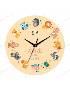 """Clock for wall """"Animals of the world"""""""
