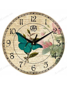 """Clock for wall """"Butterfly and Flowers"""""""