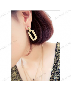 "Rectangular earrings ""Golden Wave"""