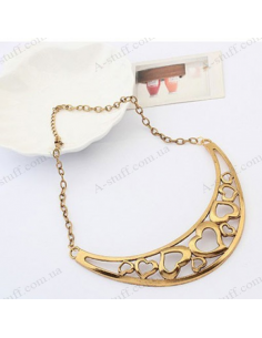 Crescent necklace with hearts
