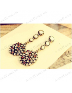 Long earrings vintage round with stones