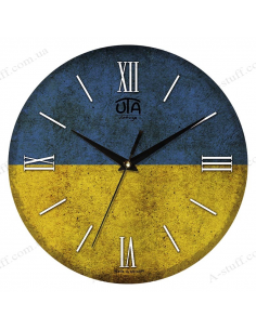 "Clock for wall ""Vintage Ukrainian flag"""