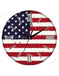 """Clock for wall """"Vintage USA Flag"""""""