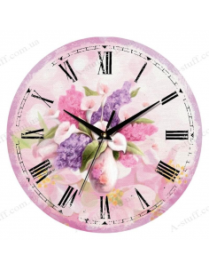 "Clock for wall ""Vintage flowers in lilac"""