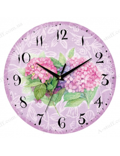 """Clock for wall """"Flowers on purple"""""""