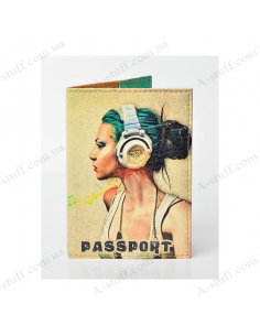 """Cover on the passport eco-leather """"The girl in headphones"""""""