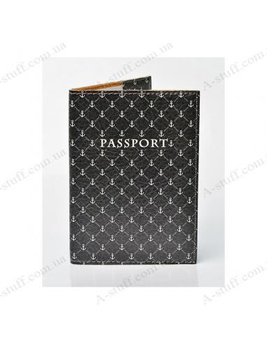 "Cover on the passport eco-leather ""Anchor on the dark"""